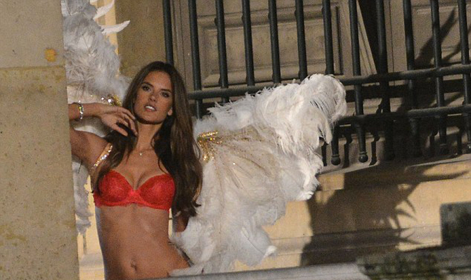 Alessandra Ambrosio shooting the Christmas ad campaign for Victoria's Secret at the Louvre in Paris, France