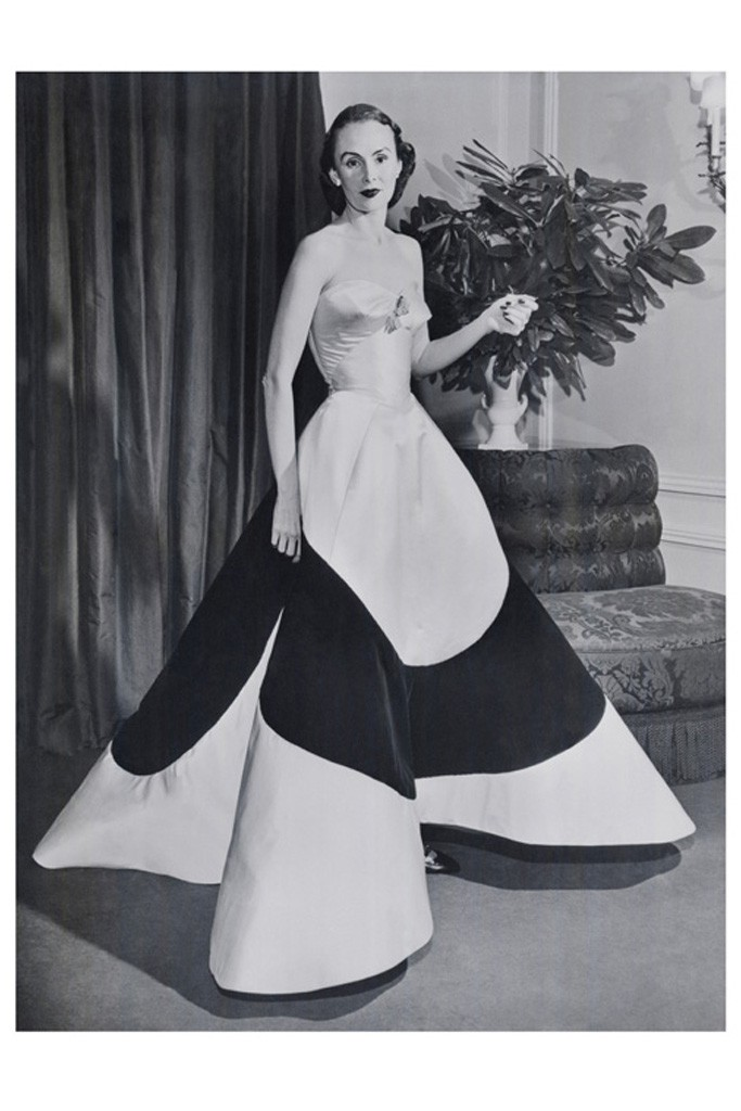 Austine Hearst in Charles James' Four-Leaf Clover Gown, circa 1953. Photo by Courtesy of The Metropolitan Museum of Art, Photographer Unknown, (c) Bettmann:Corbis