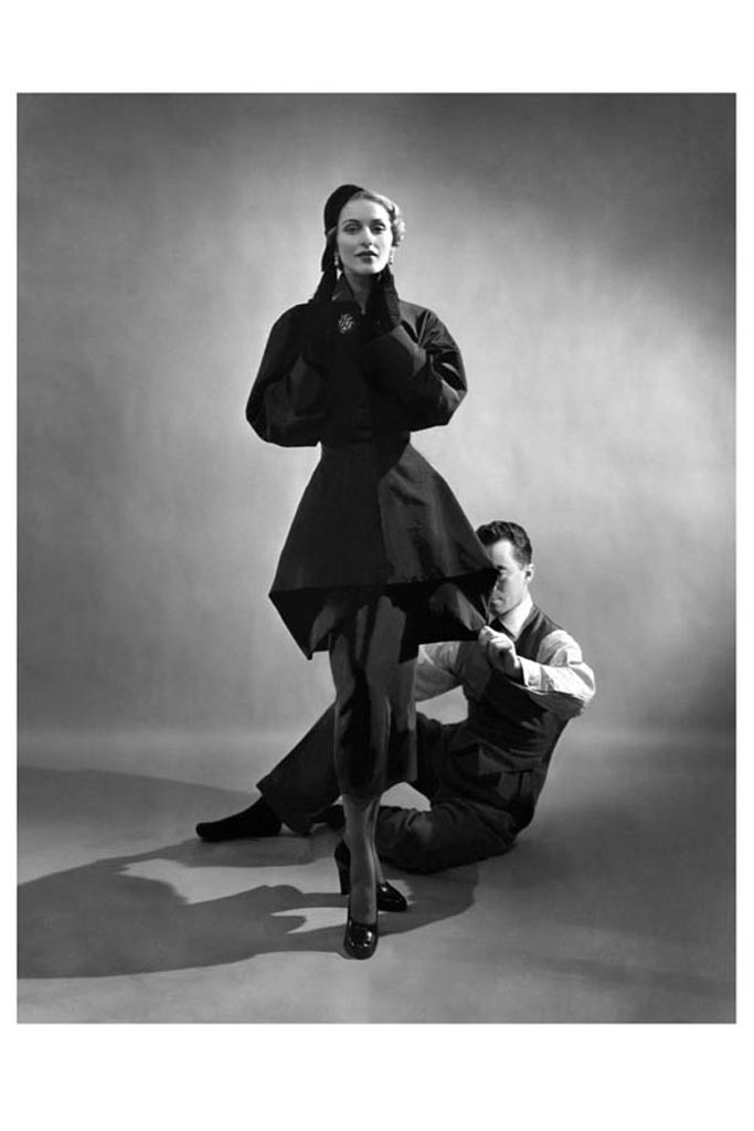 Charles James with a model, 1948. Photo by Courtesy of The Metropolitan Museum of Art, Photograph by Cecil Beaton : Vogue : Condé Nast