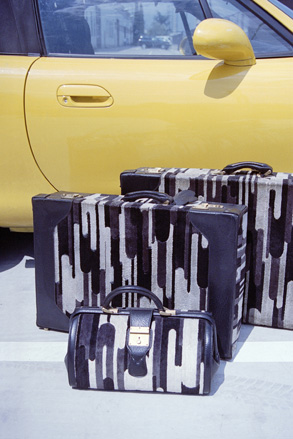 Embossed box calf leather suitcases and vanity case, 1968
