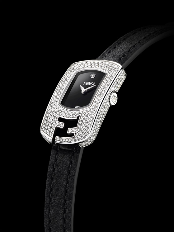 Fendi - 'Enamel' edition with yellow gold and enamel case. 'Pavé Petit Beauty' with diamond case and leather strap