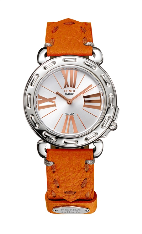 Fendi - Selleria. Stainless steel case, rose or yellow gold indexes, top quality leather interchangeable strap