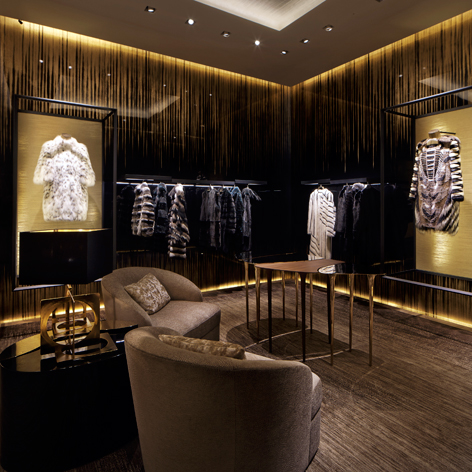 The design pays tribute to the brand's Roman roots, with lashings of Travertine marble, leather, lacquer, bronze and stone. Pictured, is the fur room