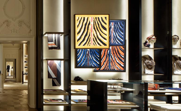A wall dedicated to Fendi silks