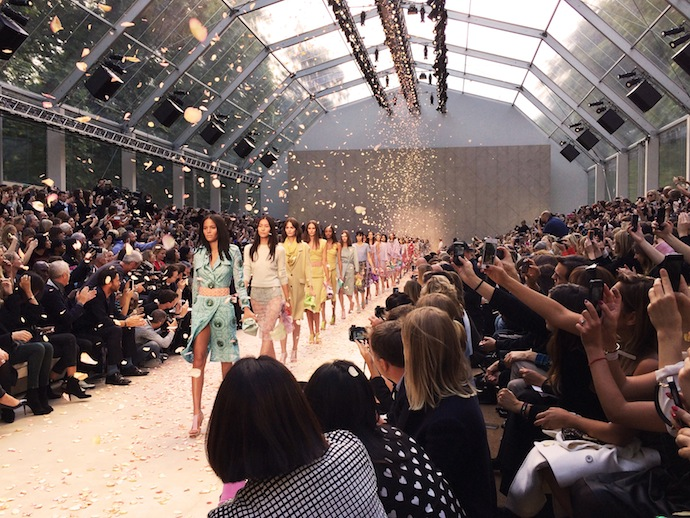 Roses rain at Burberry Prorsum Spring/Summer 2014 finale