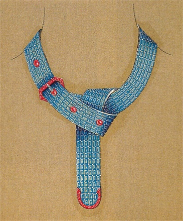 Fulco di Verdura for Paul Flato - Aquamarine and ruby necklace sketch, New York, 1935. Photo courtesy Siegelson