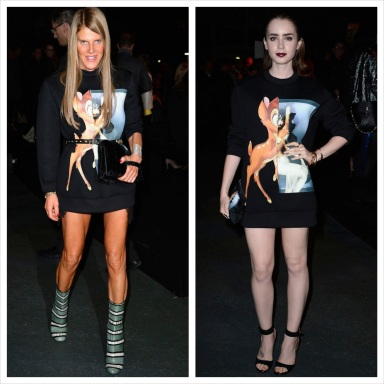 Anna Dello Russo and Lily Collins came in identical hoodies featuring the Disney character Bambi's from the fall 2013 collection of Givenchy.