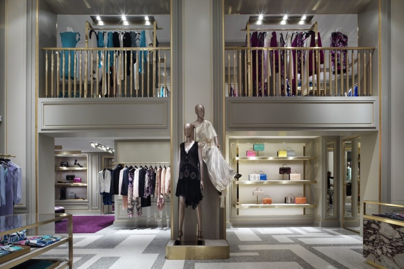 Inside Emilio Pucci's Avenue Montaigne boutique designed by creative director of the brand ,Peter Dundas with architect Joseph Dirand