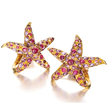 Juliette Moutard for René Boivin, Paris, 1939 - Starfish earclips with rubies and amethysts
