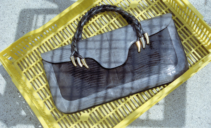 Lizard skin and box calf leather handbag with plaited handles, 1971