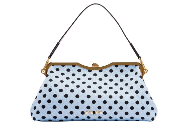 Miu Miu  Jacquard wool and polka dot leather bag, €1250