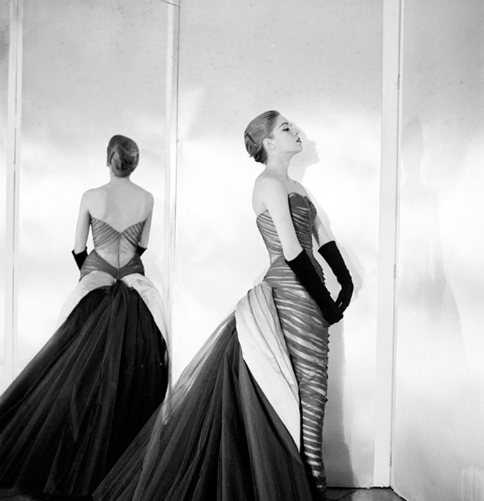 Nancy James in Charles James' Butterfly Gown, 1954. Photo by Courtesy of The Metropolitan Museum of Art, Photograph by Cecil Beaton, The Cecil Beaton Studio Archive at Sotheby'