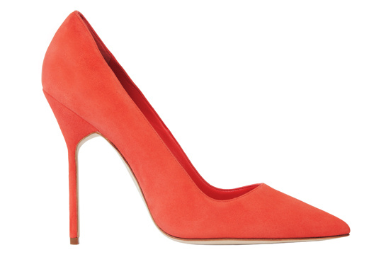 Orange calfskin BB heels, Manolo Blahnik, €450