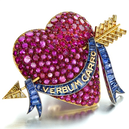 Paul Flato, New York, 1938 ca. - Ruby, sapphire, yellow diamond and enamel Heart brooch. Photo courtesy Siegelson