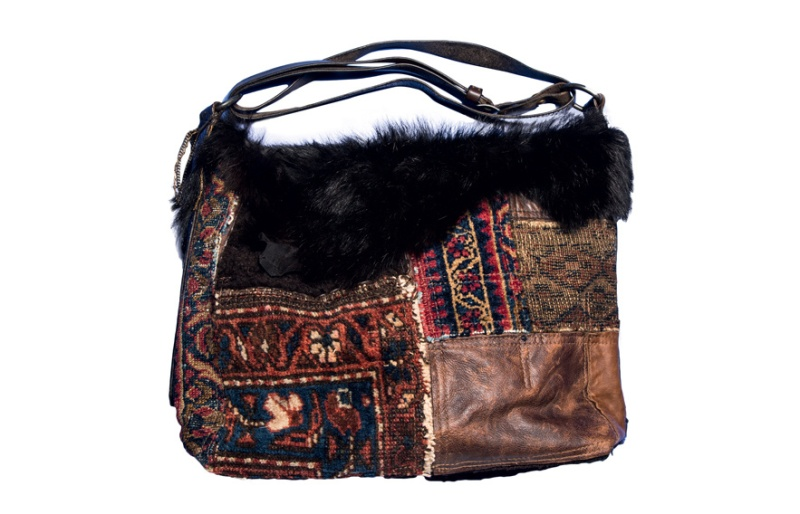Ralph Lauren Collection  Patchwork shearling, leather and tapestry bag, €1500 euros