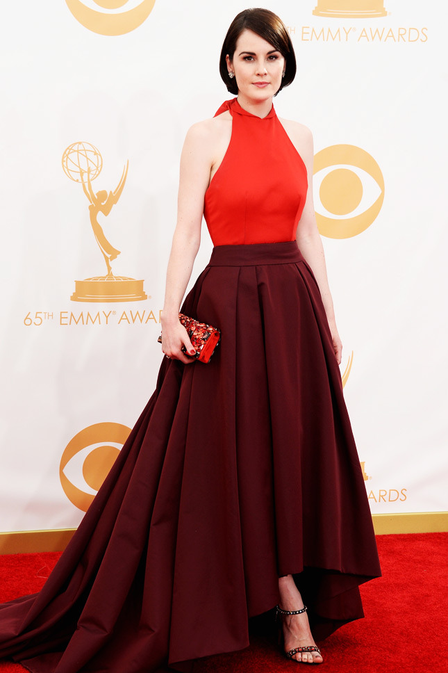 Michelle Dockery, in Prada, with Fred Leighton jewels, and a Prada clutch and shoes.