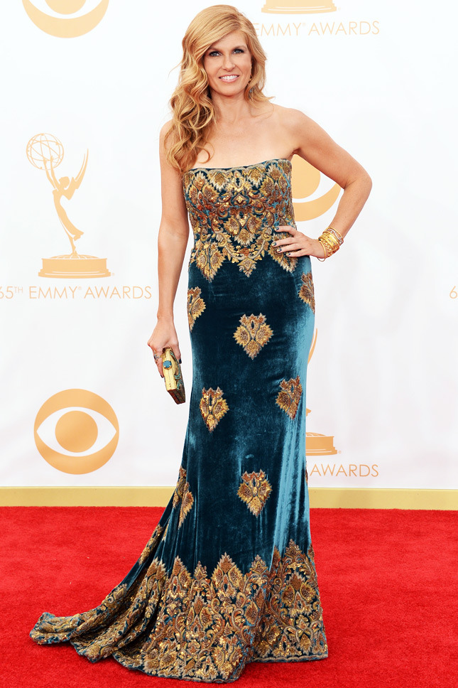 Connie Britton, in Naeem Khan, with Cathy Waterman jewels and a Stuart Weitzman clutch.