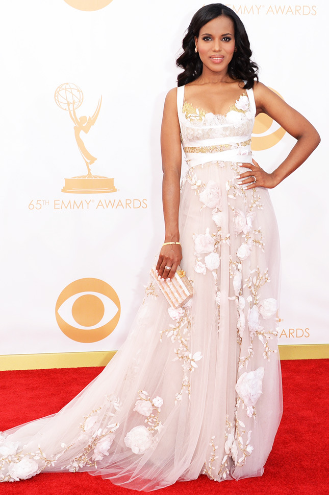 Kerry Washington, in Marchesa, with Fred Leighton jewels and an Edie Parker clutch.