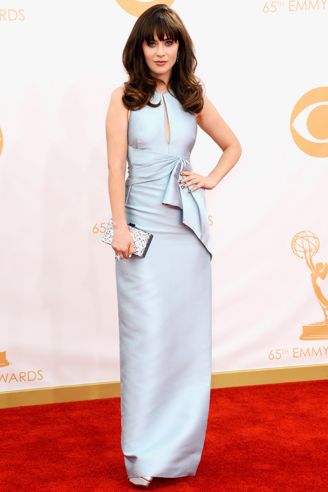 Zooey Deschanel, in J. Mendel, with Chanel fine jewelry and an Edie Parker clutch.