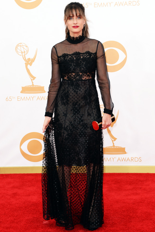 Amanda Peet, in Erdem, with a Jimmy Choo clutch and shoes.