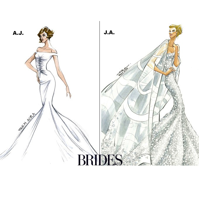 Wedding Gowns Designers Sketch for Jennifer Aniston and Angelina ...