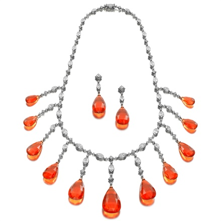 Siegelson - Fire opal and diamond necklace, Siegelson collection. Photo courtesy Siegelson