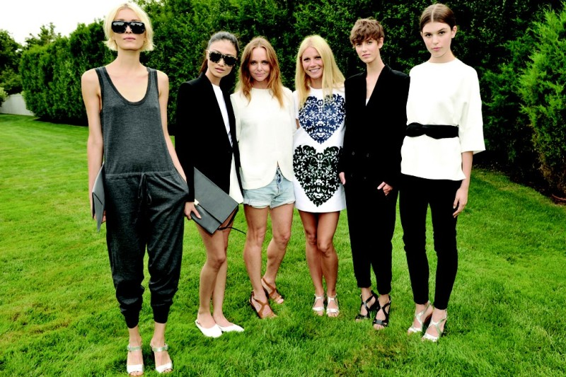 Stella McCartney and Gwyneth Paltrow with models wearing Stella McCartney X Goop.