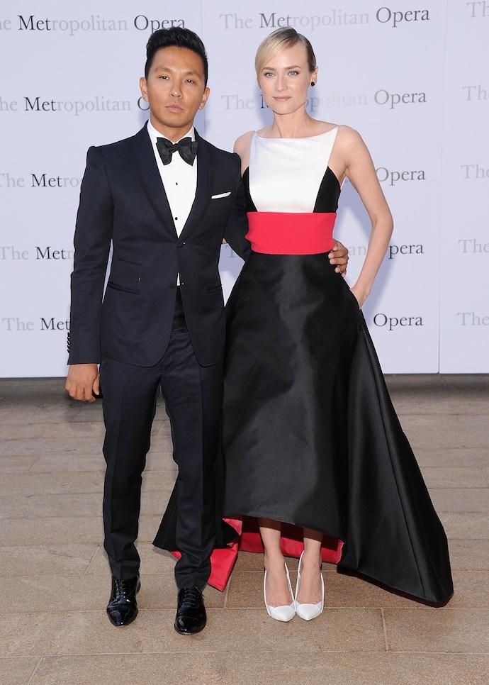 Fashion Designer Prabal Gurung (L) and actress Diane Kruger attend the Metropolitan Opera season opening production of 'Eugene Onegin'