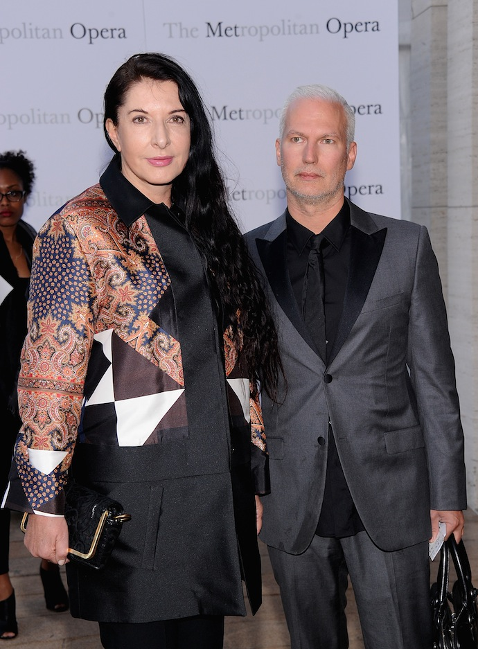"Marina Abramovic and Klaus Biesenbach attend the Metropolitan Opera Season Opening Production Of ""Eugene Onegin"" at The Metropolitan Opera House on September 23, 2013 in New York City."