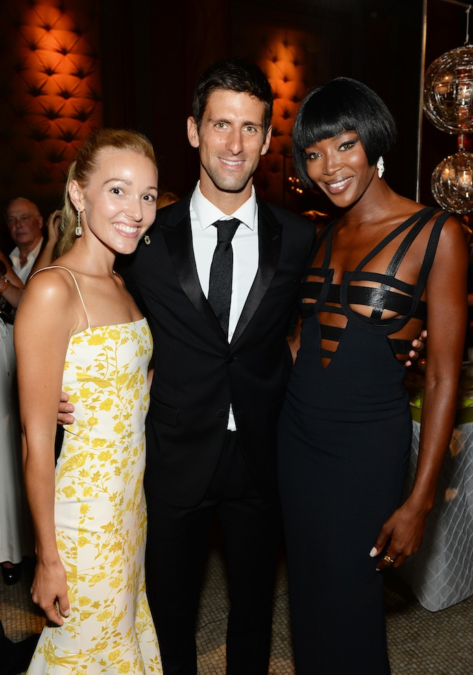 Jelena Ristic , Novak Djokovic and Naomi Campbell