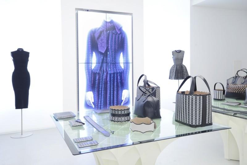 The shoe salon features Pierre Paulin shelves and couches. Photo by Dominique Maitre