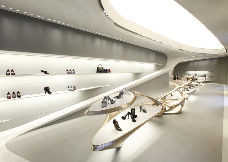 Zaha Hadid for Stuart Weitzman boutique in Milan
