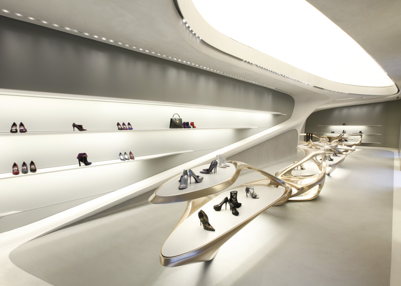 Zaha Hadid for Stuart Weitzman boutique in Milan