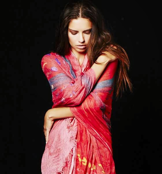 Adriana Lima for I AM HAITI Art Scarves by Nomad Two Worlds