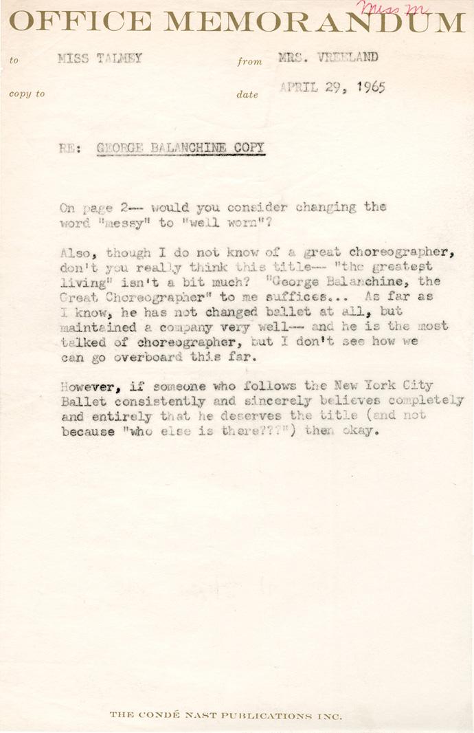 Diana Vreeland Memos April,1965