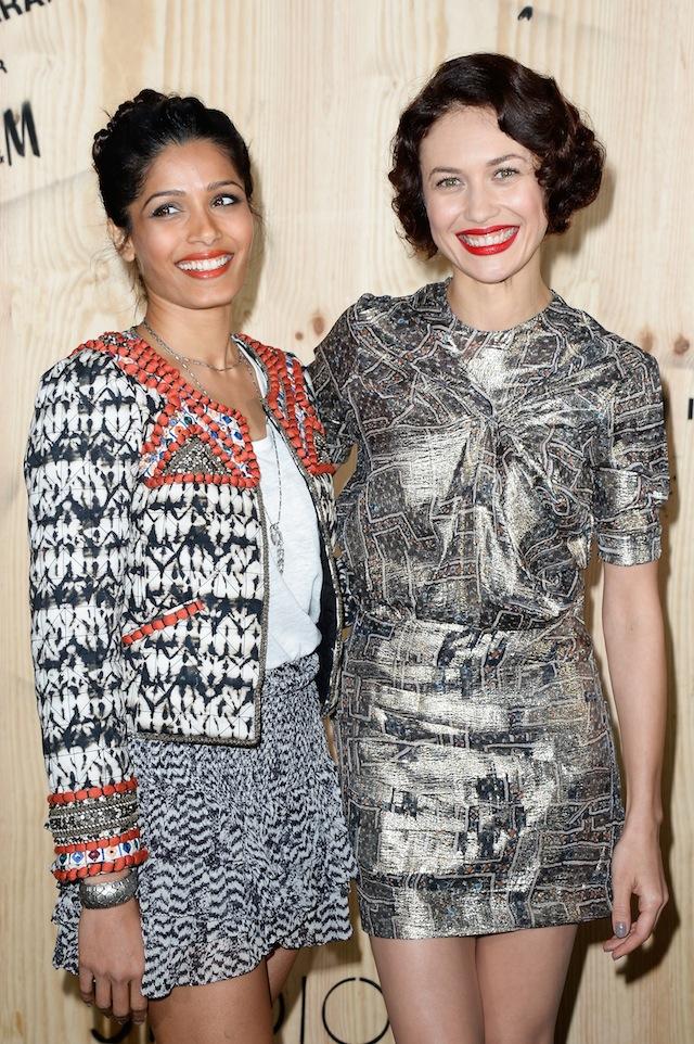 Freida Pinto and Olga Kurylenko both wearing Isabel Marant pour HM