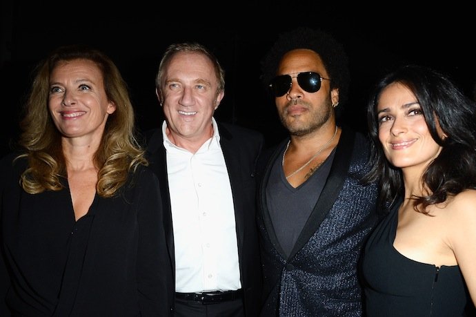 French First Lady Valerie Trierweiler, Francois-Henri Pinault and Salma Hayek