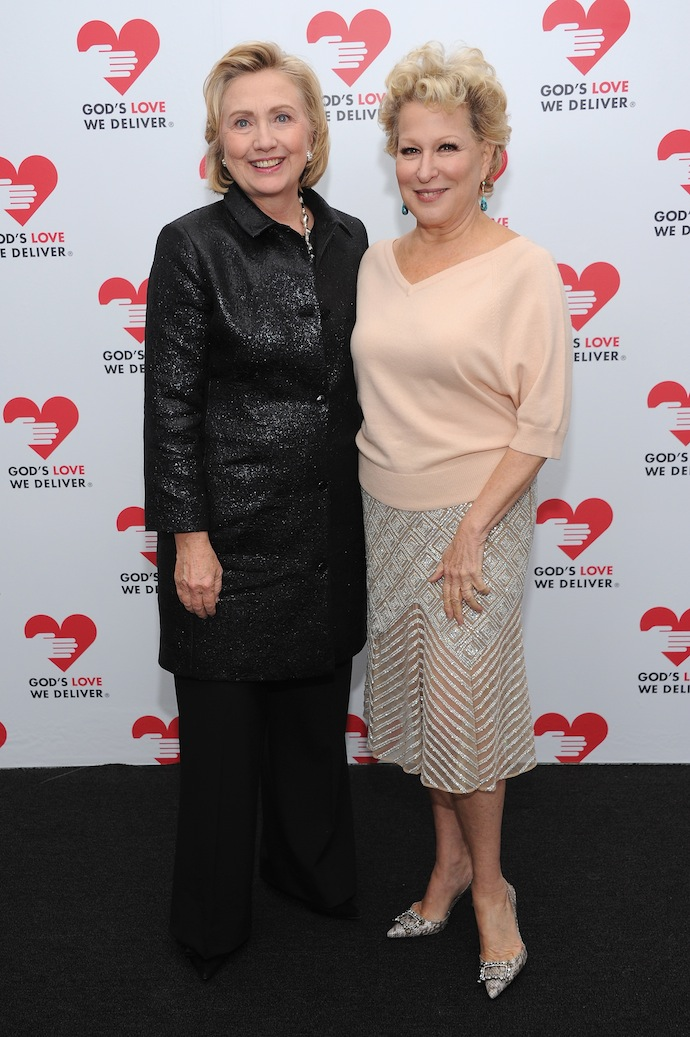 Hillary Rodham Clinton, recipient of the Michael Kors Award for Outstanding Community Service, and Bette Midler attend God's Love We Deliver 2013 Golden Heart Awards Celebration