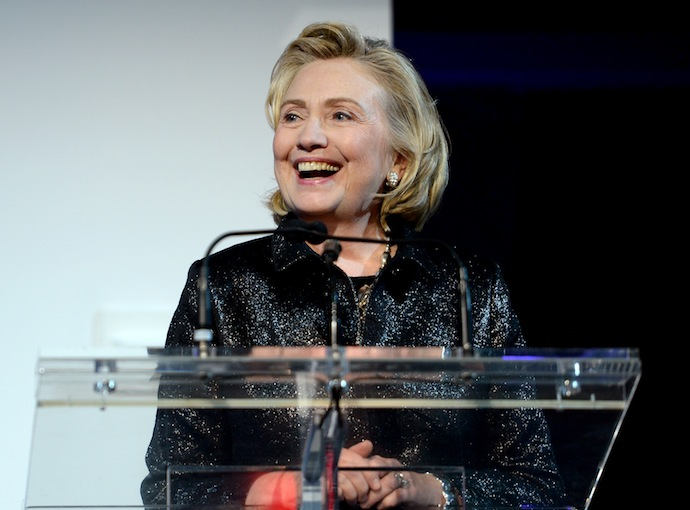 Hillary Rodham Clinton, recipient of the Michael Kors Award for Outstanding Community Service, speaks onstage at God's Love We Deliver 2013 Golden Heart Awards Celebration at Spring Studios on October 16, 2013 in New York City