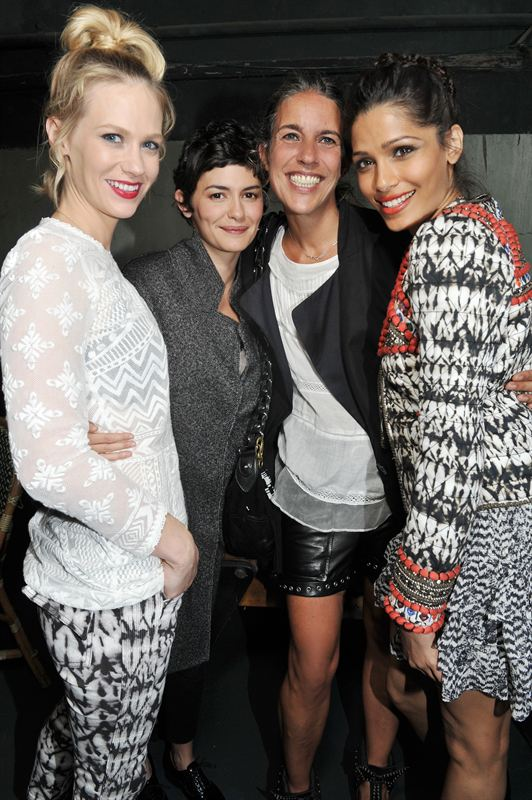 January Jones,Audrey Tautou,Isabel Marant and Freida Pinto wearing Isabel Marant pour H M