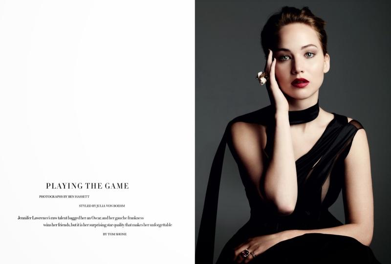 Jennifer Lawrence by Ben Hassett for Harper's Bazaar UK November 2013