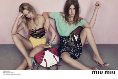 Lea Seydoux and Adèle Exarchopoulos by Inez van Lamsweerde and Vinoodh Matadin for Miu Miu Resort 2014