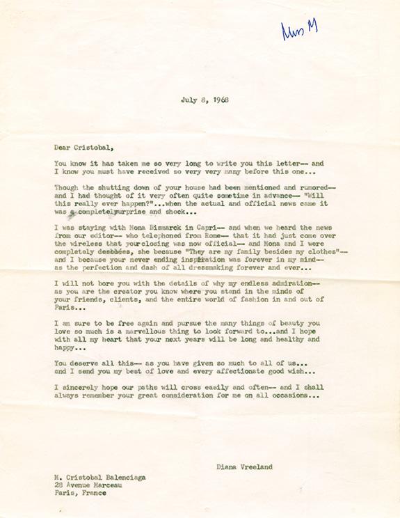 Letter to M. Cristobal Balenciaga, July 8, 1968. © Grace Mirabella