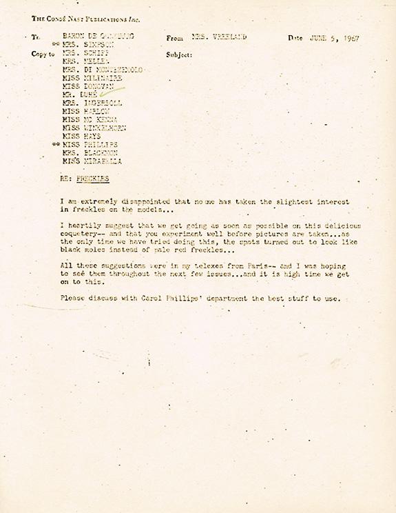 Diana Vreeland Memos Subject: Lauren Hutton on January,1970