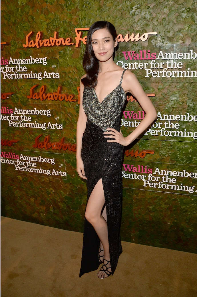 Model Tao Okamoto arrives at the Wallis Annenberg Center for the Performing Arts Inaugural Gala presented by Salvatore Ferragamo