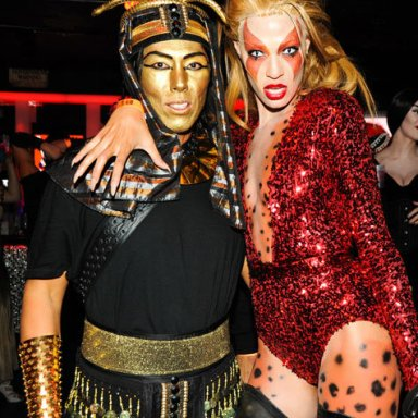 Stephen Gan, Joan Smalls At V Magazine's Halloween Bash in New York in 2011.