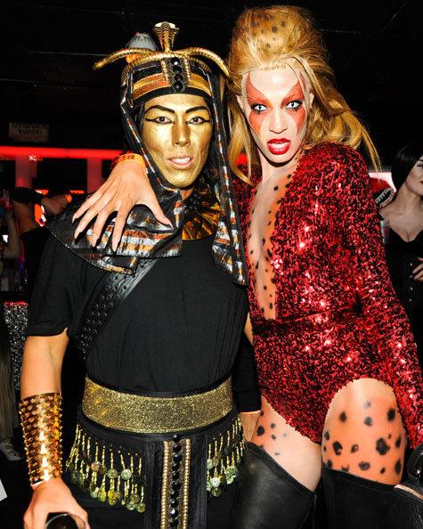 Stephen Gan, Joan Smalls At V Magazine's Halloween Bash in New York in 2011.