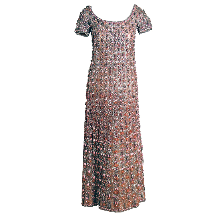 1960's Jean Patou Haute-Couture Pink Rhinestone Sequin Silk Gown