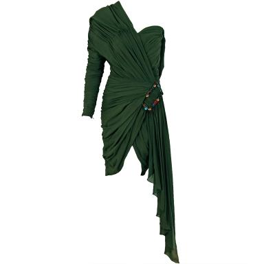 1985 Jean Patou Haute-Couture Rare Green Silk Asymmetric Dress