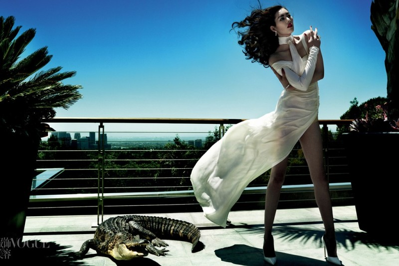 """Savage Grace"" in Vogue China, featuring Liu Wen, styled by Carlyne Cerf de Dudzeele. Photo by Mario Testino"